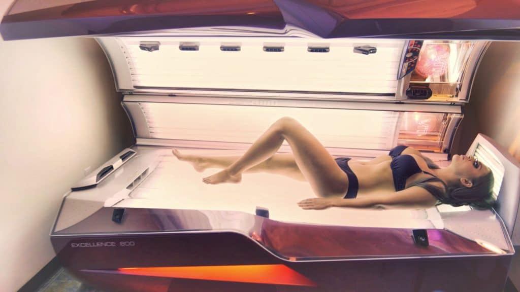 Womain in UV tanning bed