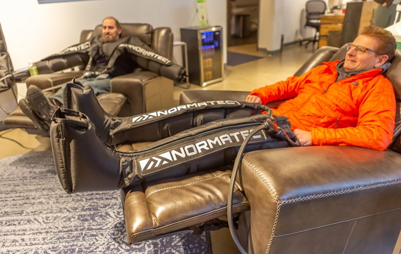 Normatec Compression Therapy on Legs and arms